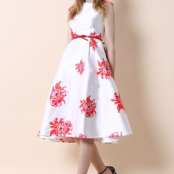 Spider Lily Printed Prom Dress