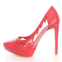 Red Side Cut Out Pump High Heels Faux Leather