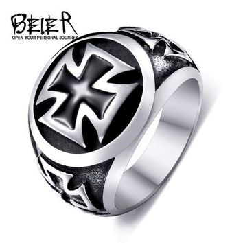 DCCKU62 One Piece Sale Titanium Cross Ring For Man 316L Stainless Steel Unique Fashion Male's Cross Ring For Boy BR8-073