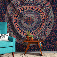 INDIAN ELEPHANT MANDALA TAPESTRY,PICNIC BEACH THROW BEDSPREAD,NEW AGE TAPESTRY