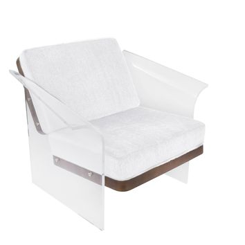 Float Chair in White Mohair Fabric accented by Walnut Wood and Clear Acrylic.
