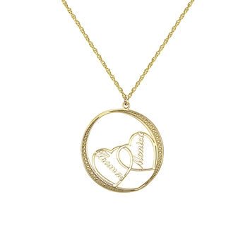 Round Couples Heart Pendant Necklace