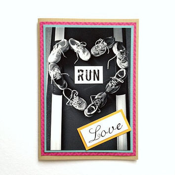 Run Love Heart Handmade Running Greeting Card (Blank Inside) - Love, Thinking of You Card for Runners
