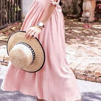 From Here To Eternity Short Sleeve V Neck Button Flare A Line Casual Maxi Dress - 2 Colors Available