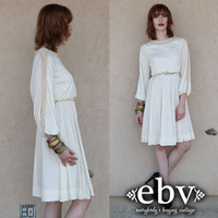 Vintage 70s Cream Grecian Crochet Goddess Wedding Dress S M