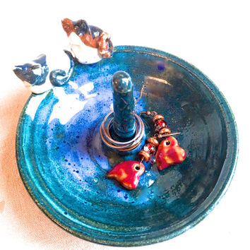Kitty Cat Ring Dish, blue ring tree ring bracelet storage handmade ceramic ring cone teal pottery ring bowl jewelry display ring holder