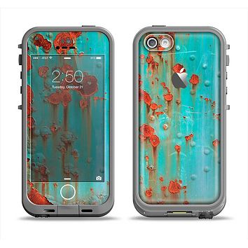 The Teal Painted Rustic Metal Apple iPhone 5c LifeProof Fre Case Skin Set