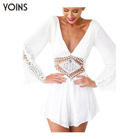 Women Sexy Deep V-neck Backless Playsuit Lace Crochet Hollow Out Long Sleeve Jumpsuit Rompers