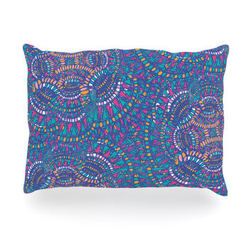 "Miranda Mol ""Kaleidoscopic Blue"" Blue Geometric Oblong Pillow"