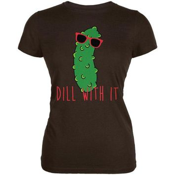 DCCKU3R Vegetable Pickle Dill Deal With It Juniors Soft T Shirt