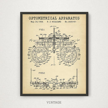 Optometrical Instrument Patent Print, Optical Trial Frame, Digital Download, Eye Clinic Decor, Eye Doctor Gift, Optician, Optometry Wall Art