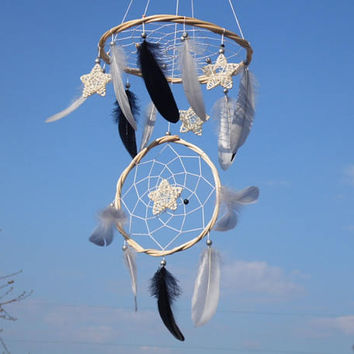 Black gray silver dreamcatcher mobile Black gray feather mobile   Black gray dream catcher Star baby boy mobile Black nursery Eco friendly