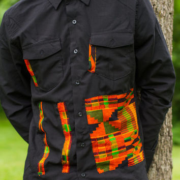 Black & Kente Men's Button-up shirt
