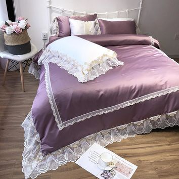 Pink Purple Silver Princess Lace Bedding Set Silk Cotton Soft Duvet Cover Bed Sheet Linens Pillowcases Queen King Size Bed set