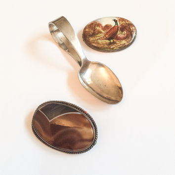 Victorian Jewelry Lot, Banded Agate, Pheasant, Silver Spoon, Pendant, Repair SPRING SALE