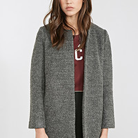 FOREVER 21 Collarless Boucle Coat Charcoal Heather