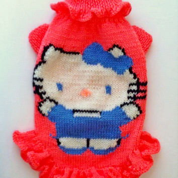 Knit Pink Dress For Dog. Handmade Knit Clothes For Pets. Hello Kitty Dog Dress. Sweater For Pet. Pattern Dress For Pet.Size M