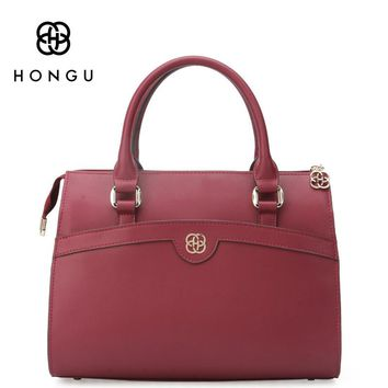 HONGU European American Satchels Genuine Cow Leather Women Totes Handbags Shoulder Messenger Crossbody Bags Female Handbag bag