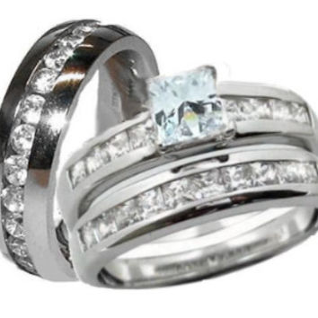 His & Hers Wedding Ring Set Sterling Silver & Stainless Steel  Wedding Rings