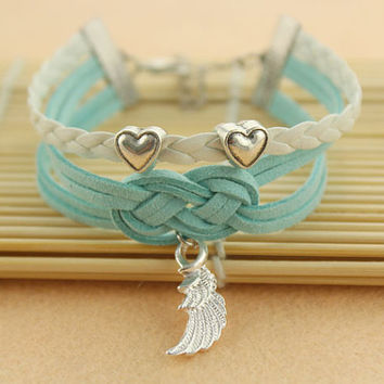 angle wings bracelet--love heart beads bracelet,antique silver charm bracelet,blue &white braid leather bracelet,MORE COLORS