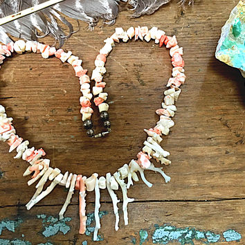 Branch Coral Necklace White & Pink Navajo Sterling Silver