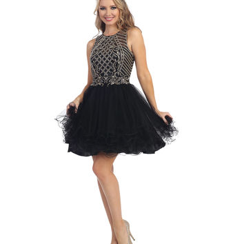 Black Sheer Embellished Beaded Chiffon Dress 2015 Prom Dresses