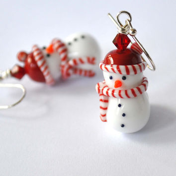 Snowman Earrings, Christmas Jewelry, Lampwork Glass Earrings, Whimsical Earrings, Frosty the Snowman Inspired Earrings