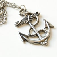 Anchor Necklace Silver Nautical 10% of sale will be donated to Sea Shepherd Conservation Society