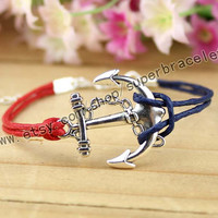 Anchor bracelet, ancient silver charm, red, navy blue leather rope, gift, girlfriend and BFF