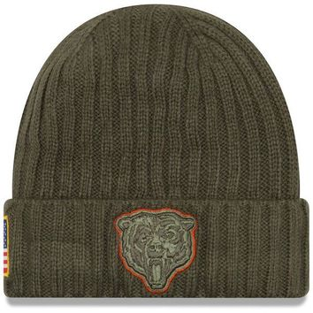 Men's Chicago Bears Green New Era Salute To Service Sport Knit Hat