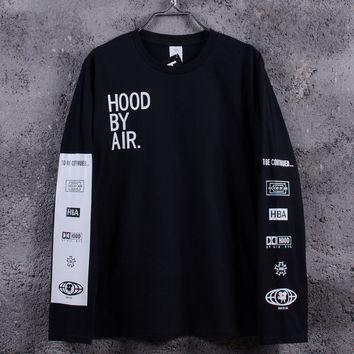 Men's Hood By Air Long Sleeve Tee Shirts Man HBA Hip Hop t-shirts Been Trill Printed tshirts Men Camisetas Clothing