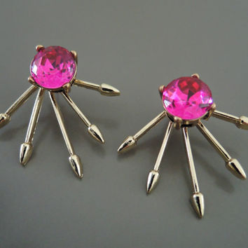 Ear Jackets - Rhinestone Earrings - Spike Earrings - Stud Earrings - Pink Earrings - Gold Earrings - Boho Earrings