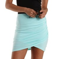 Blue Light Ruched Bodycon Mini Skirt by Charlotte Russe