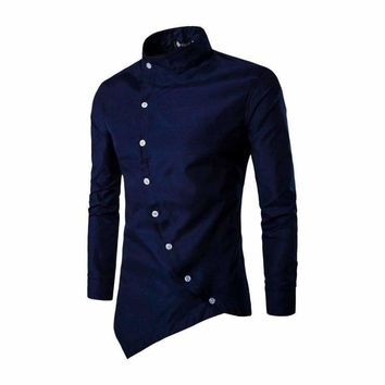 Mens Shirts Long Sleeve Tuxedo Shirts Slim Fit Irregular Blouse Stitching Camisa Masculina Shirt Top