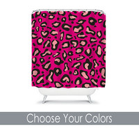 Shower Curtain CUSTOM You Choose Colors Cheetah Animal Pattern Hot Pink Black Bathroom Bath Polyester Made in the USA