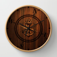 Wooden Anchor Wall Clock by Nicklas Gustafsson