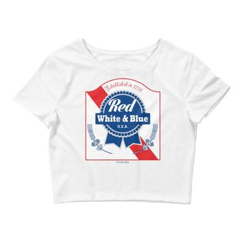 Red White & Blue PBR 4th Of July - Women's Crop Top Tee