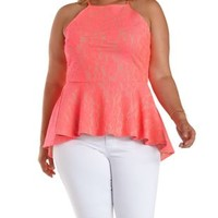 Plus Size Neon Coral Lace High-Low Peplum Top by Charlotte Russe