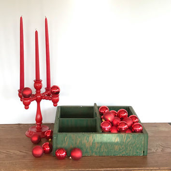 Vintage Green Wood Box  Red Ornaments And Red wood Candlestick Made In Sweden Holiday decoration for display.