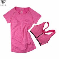 B.BANG Women Yoga Sets for Gym Running Sportswear Suit Sport T-shirt + Bra Set Sports Tops Quick-Dry Fitness Clothing for Woman