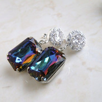 Bridal Earrings Blue Purple Foiled Octagon Stone Rhinestone CZ Halo Silver Stud Estate Style Wedding Jewelry Valentines