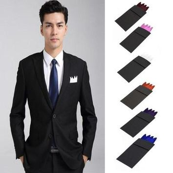Charm Men Suit Insert Pocket Square Solid Color Handkerchief Wedding Party Hanky