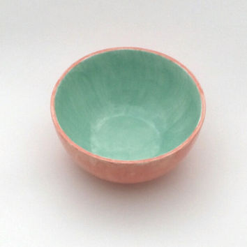 Ceramic hand-glazed bowl, coral and mint