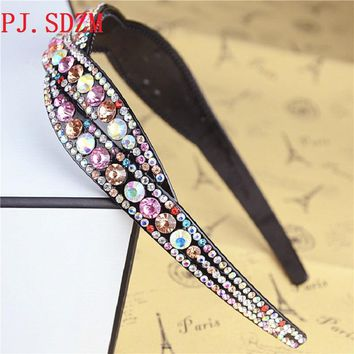 Full Rhinestone Hair Bands Rhinestone Belt Headband Slip-resistant Women's Diamond Hair Accessory Fashion 3 Colors FG0175
