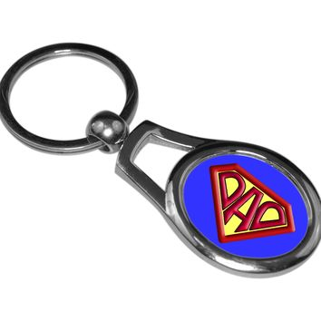 Super Dad Oval Metal Key Chain for Dads, Fathers and Fathers Day Gift