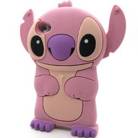 3D Pink Stitch & Lilo Soft Silicone Case Cover Movable Ear + Free Neck Strap For Apple iPod Touch iTouch 4 4g 4th Generation