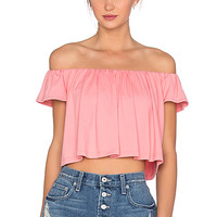Off the Shoulder Crop Top in Sorbet