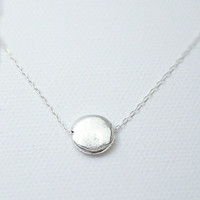 Silver disc necklace - flat circle lentil on sterling silver chain - modern simple jewlery