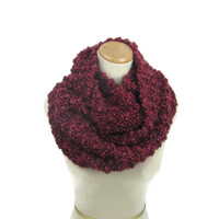 Knit Infinity Scarf, Circle Scarf, Hand Knit Scarf, Knitted Scarf, Cowl, Burgundy Scarf, Gift Idea For Her, Fashion Accessory, Bulky Scarf