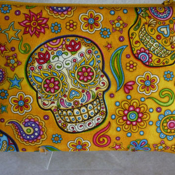BRAND NEW!  Budinski: A Zipper Top  Bag With Odor Proof Storage For Medical & Recreational MARIJUANA Inside! Day of the Dead Sugar Skulls